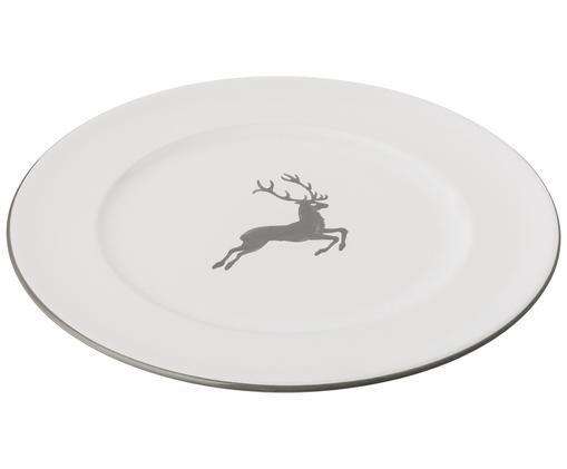 Speiseteller Gourmet Grauer Hirsch, Grau,Weiß