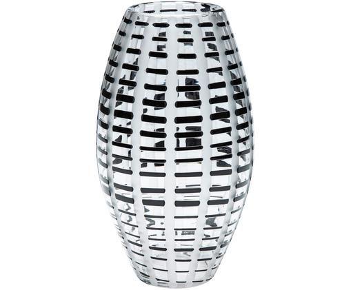 Vaso Grid soffiato in bocca, Trasparente, nero, bianco