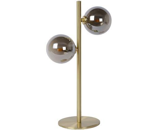 Kugel-Tischleuchte Tycho für Stimmungslicht, Lampenfuß: Stahl, vermessingt, Messingfarben, Grau, 24 x 43 cm