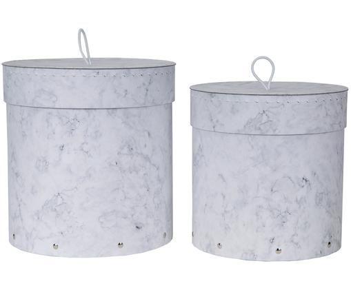 Set scatole custodia Hanna, 2 pz., Scatola: solido, cartone laminato, Maniglia: gomma, Bianco, marmorizzato, Diverse dimensioni