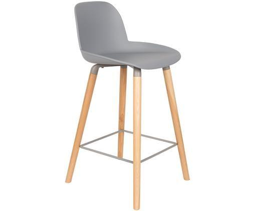 Chaise de comptoir Albert Kuip, Assise: gris clair Pieds: frêne Cadre et repose-pieds: gris