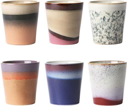 Handgefertigtes XS Becher-Set 70's, 6-tlg., Keramik, Mehrfarbig, Ø 8 x H 8 cm