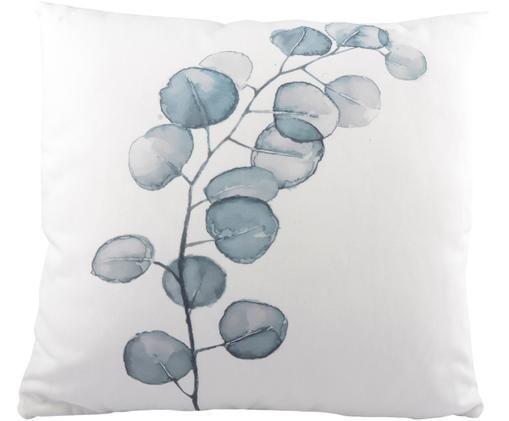 Cuscino Eukalyptus, Bianco, turchese, Larg. 45 x Lung. 45 cm
