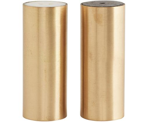 Salz- und Pfefferstreuer  Gavel, 2er-Set, Deckel: Marmor, Verschluss: Kunststoff, Messingfarben, Ø 3 x H 8 cm