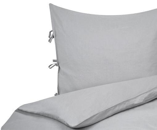 Pościel z lnu Maria, 52% len, 48% bawełna Z efektem stonewash zapewniającym miękkość w dotyku, Szary, 155 x 220 cm