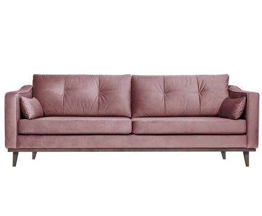 Sofa z aksamitu Alva (3-osobowa), Tapicerka: aksamit (wysokiej jakości, Stelaż: lite drewno sosnowe, Nogi: lite drewno bukowe, barwi, Tapicerka: blady różowy Nogi: drewno bukowe, bejcowane na ciemno, S 215 x W 78 cm