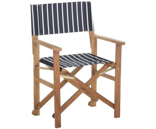 Krzesło reżysera Zoe, Stelaż: drewno akacjowe, olejowan, Ciemnyszary, biały, S 52 x G 58 cm