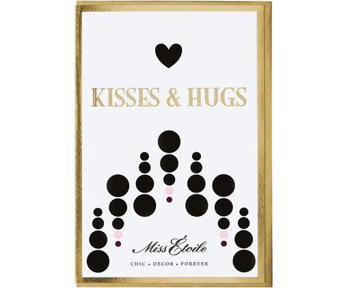 Grußkarte Kisses & Hugs, Papier, Weiß, Schwarz, Goldfarben, Rosa, 11 x 17 cm