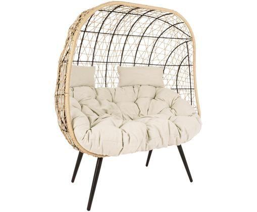 Sofa ogrodowa ze splotu z tworzywa sztucznego Marley (2-osobowa), Stelaż: aluminium, malowane prosz, Tapicerka: poliester, Beżowy, kremowy, czarny, S 115 x G 107 cm
