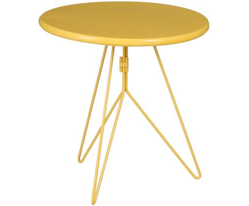 Tavolino in metallo Tula, Metallo verniciato a polvere, Giallo, Ø 40 x Alt. 40 cm