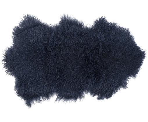 Peau de mouton à poils longs Curly, Bleu foncé