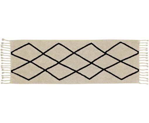 Läufer Bereber, Flor: 90% Baumwolle, 10% recyce, Beige, Schwarz, 80 x 230 cm
