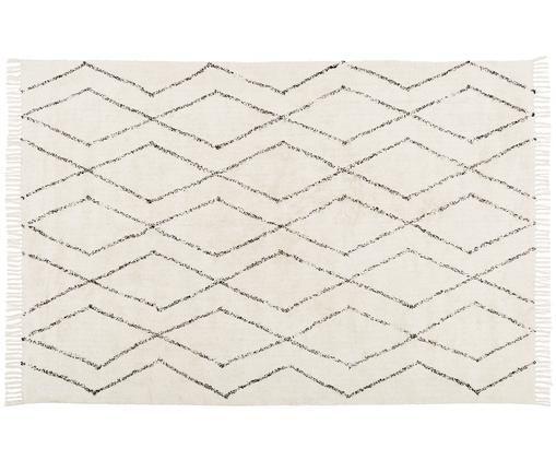 Ručne tkaný bavlnený koberec so vzorom Bina, Béžová, čierna