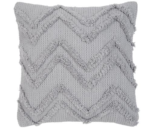 Kissenhülle Akesha mit Zickzack-Muster, Baumwolle, Grau, 45 x 45 cm