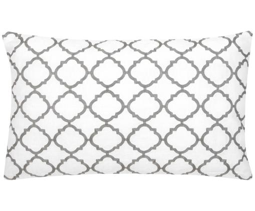 Federa arredo ricamata Lona, 100% cotone, Bianco, grigio, Larg. 30 x Lung. 50 cm