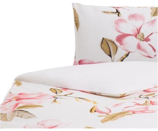 Housse de couette réversible en coton Magnolia, Blanc, rose, vert