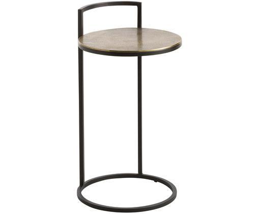 Table d'appoint en métal Circle, Couleur laiton, finition antiquaire, noir, mat