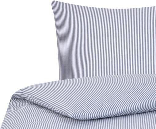 Housse de couette en coton à fines rayures Ellie, Blanc, bleu foncé