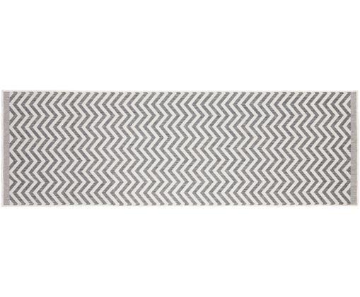 In- und Outdoorläufer Palma mit Zickzack-Muster, beidseitig verwendbar, Grau, Creme, 80 x 250 cm