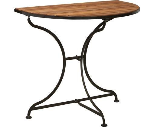 Halbrunder Balkontisch Parklife mit Holzplatte, Tischplatte: Akazienholz, geölt, Gestell: Metall, verzinkt, pulverb, Schwarz, Akazienholz, 85 x 75 cm