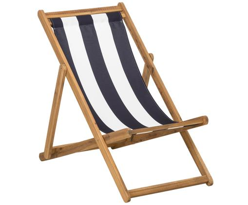 Leżak Zoe, Stelaż: drewno akacjowe, olejowan, Biały, niebieski, S 59 x G 91 cm