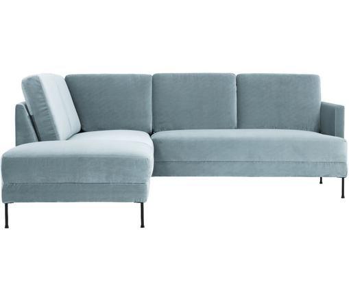 Sofa narożna z aksamitu Fluente, Tapicerka: aksamit (wysokiej jakości, Stelaż: lite drewno sosnowe, Nogi: metal lakierowany, Turkusowy, S 221 x G 200 cm