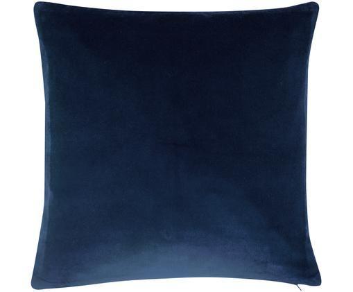 Federa arredo in velluto Alyson, 100% velluto di cotone, Blu marino, Larg. 50 x Lung. 50 cm