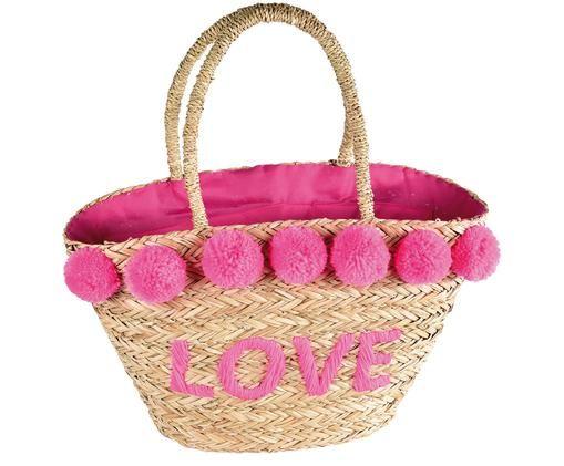 Strandtasche Love, Beige, Pink, 50 x 28 cm
