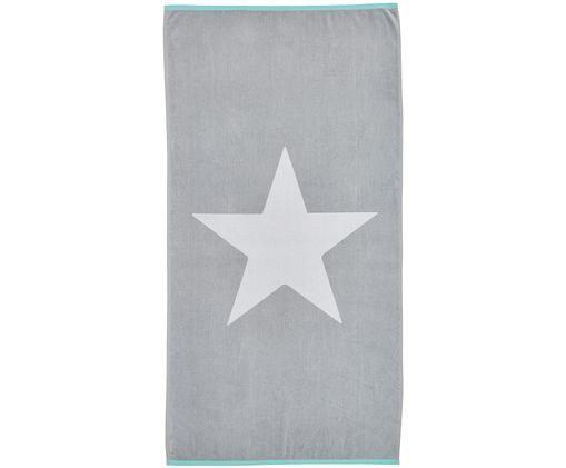 Ręcznik plażowy Spork, Bawełna Niska gramatura 380 g/m², Szary, biały, S 80 x D 160 cm