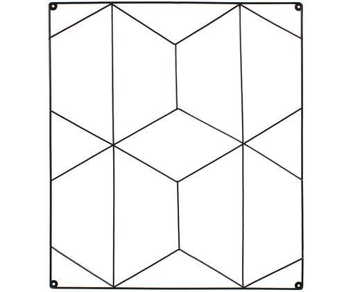 Tablica ścienna z miejscem do przechowywania Hexagon, Metal powlekany, Czarny, S 50 x W 57 cm