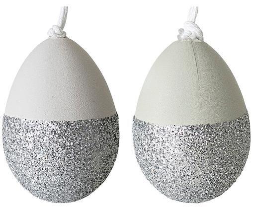 Komplet wiszących dekoracji wielkanocnych Shine, 2 elem., Biały, odcienie srebrnego, Ø 3 x W 4 cm