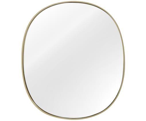 Wandspiegel Adria, Rahmen: Metall, vermessingt, Spiegelfläche: Spiegelglas, Rückseite: Mitteldichte Holzfaserpla, Messing, 49 x 55 cm