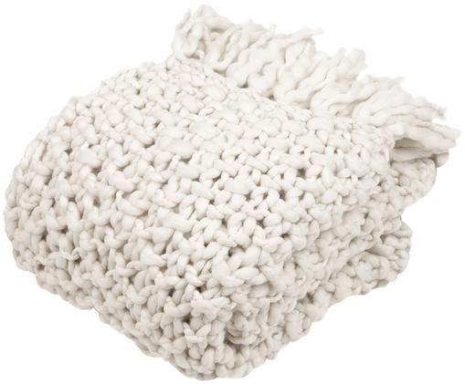 Grofgebreide plaid Liva, 50% wol, 50% acryl Met licht ruw gevoel, Gebroken wit, 130 x 170 cm