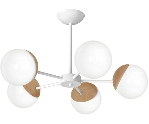 Deckenleuchte Sfera, Metall, beschichtet, Opalglas, Opalweiß, Braun, Ø 66 x H 42 cm