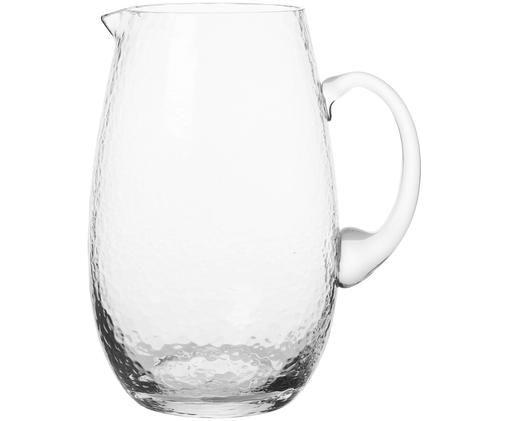 Brocca in vetro soffiato Hammered, Vetro soffiato, Trasparente, 2 L
