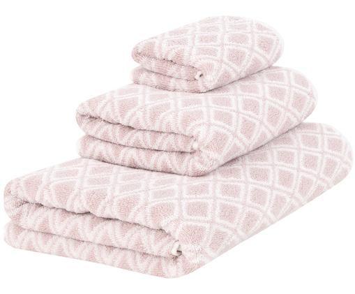 Set asciugamani reversibili Ava, 3 pz., 100% cotone, qualità media 550g/m², Rosa, crema, Diverse dimensioni