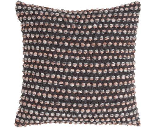 Kissen Tye Dye mit kleinen Knoten, mit Inlett, Bezug: 60% Baumwolle, 40% Acryl, Anthrazit, 45 x 45 cm