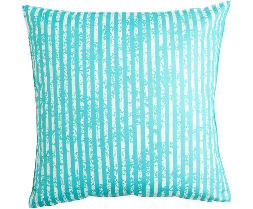 Coussin d'extérieur à rayures Little Stripes, Turquoise, blanc
