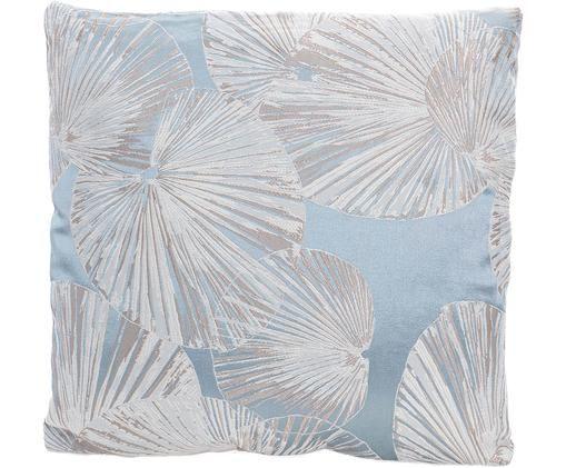 Federa con imbottitura ricamato Basia, Poliestere, Azzurro, crema, beige, Larg. 43 x Lung. 43 cm