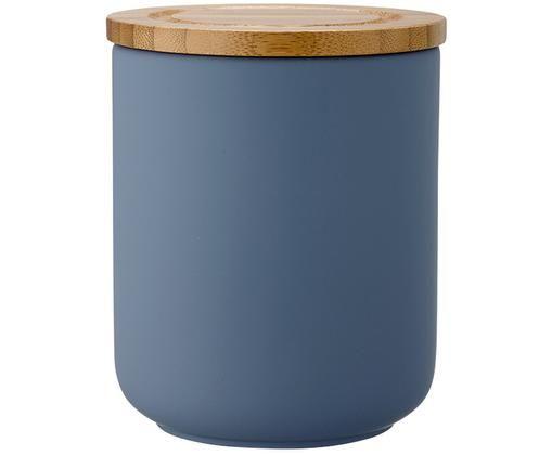Scatola custodia Stak, Contenitore: ceramica, Coperchio: legno di bambù, Blu opaco, bambù, Ø 10 x Alt. 13 cm