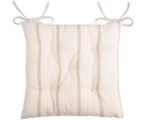 Gestreiftes Sitzkissen Pampelonne, Beige, Gebrochenes Weiß, 40 x 40 cm