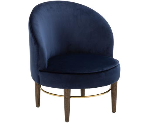 Fotel z aksamitu Club Lounge, Tapicerka: marynarski granat Nogi: drewno dębowe Ozdoba: odcienie złotego