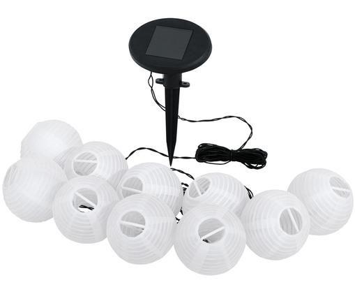 Ghirlanda solare a LED Kosmos, 430 cm, Paralume: carta di riso, Nero, bianco, Lung. 430 cm