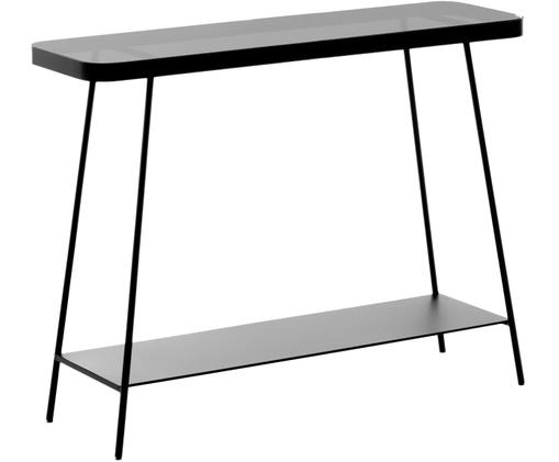 Consolle Duilia in metallo con piano in vetro, Nero