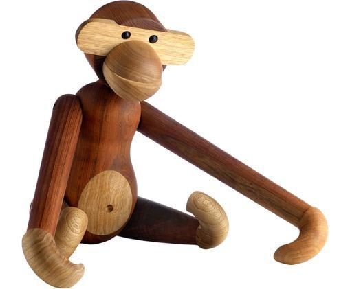 Teakhouten decoratief designer object Monkey, Teakhout, limbahout, gelakt, Teakhoutkleurig, limbakleurig, 29 x 28 cm