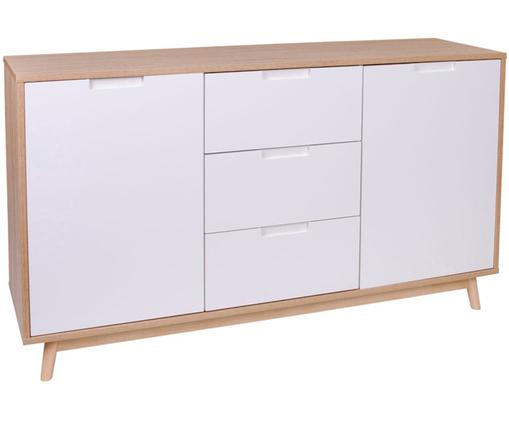 Komoda z drewna sosnowego Copenhagen, Drewno sosnowe, płyta pilśniowa średniej gęstości (MDF), powlekana melaminą, Biały, drewno sosnowe, S 150 x W 86 cm