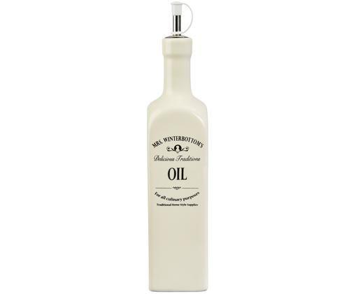 Ölspender Mrs Winterbottoms, Steingut, Edelstahl, Kunststoff, Creme, Schwarz, Ø 6 x H 27 cm