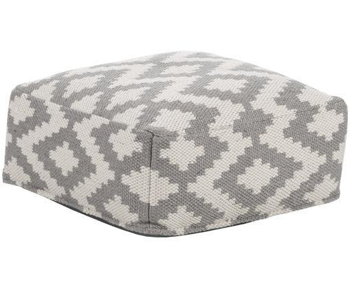 Handgewebtes In- und Outdoor-Bodenkissen Napua, Bezug: recyceltes Polyester, Grau, Ecru, 63 x 30 cm