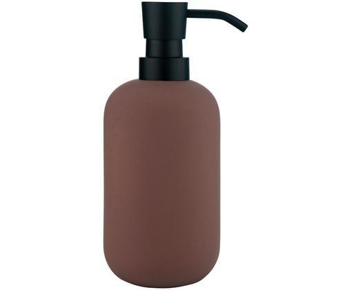 Dosatore di sapone Lotus, Contenitore: ceramica, Testa della pompa: metallo, Malva, nero, Ø 8 x A 18 cm