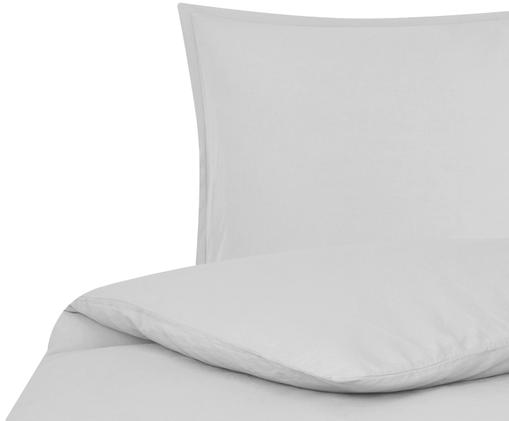 Gewaschene Leinen-Bettwäsche Breezy in Hellgrau, 52% Leinen, 48% Baumwolle Mit Stonewash-Effekt für einen weichen Griff, Hellgrau, 135 x 200 cm